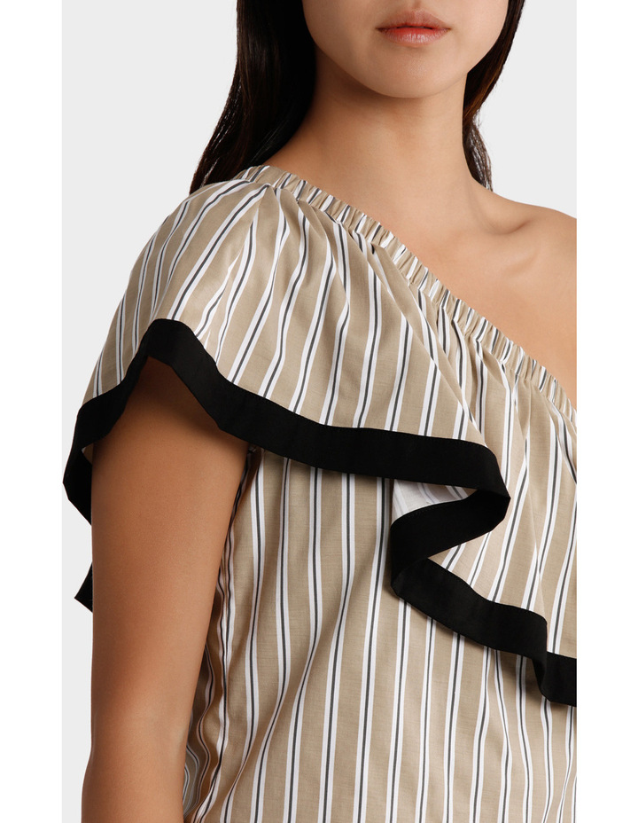 Top One Shoulder Ruffle Stripe and tipped image 4