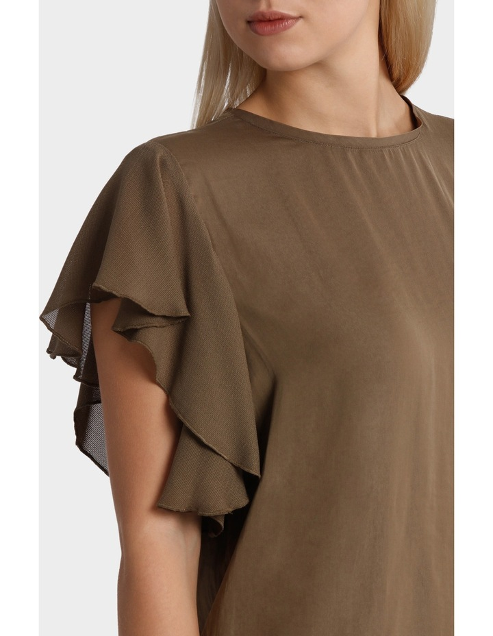 Crew Neck Knit Woven Ruffle Sleeve Top image 4