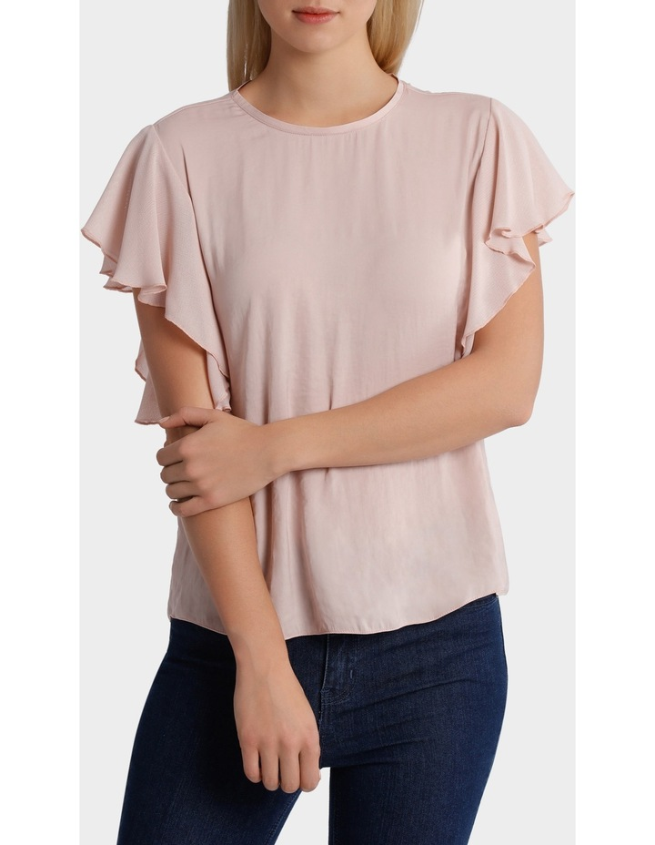 Crew Neck Knit Woven Ruffle Sleeve Top image 1