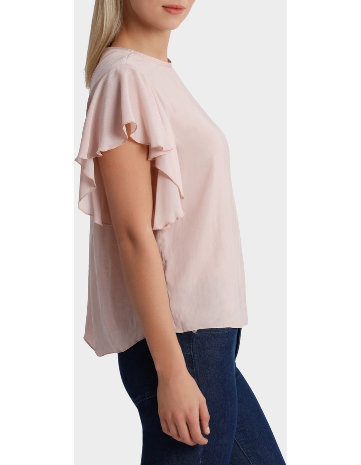 Crew Neck Knit Woven Ruffle Sleeve Top image 2