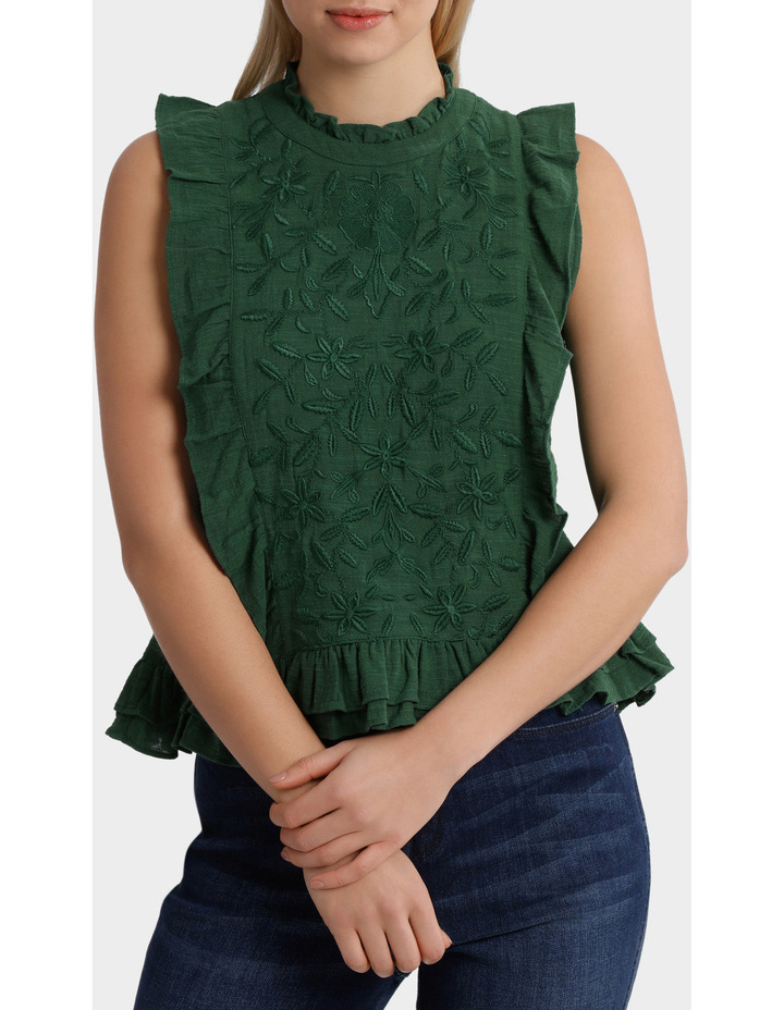 Top with self colour embroidery image 1