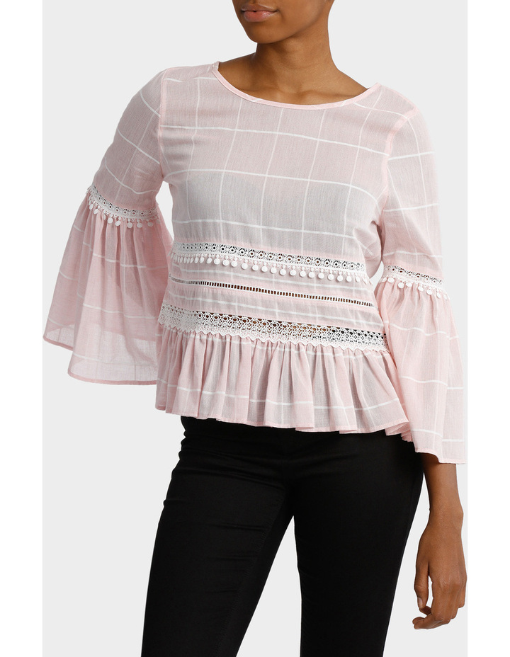 Check Top with Embroidery image 1