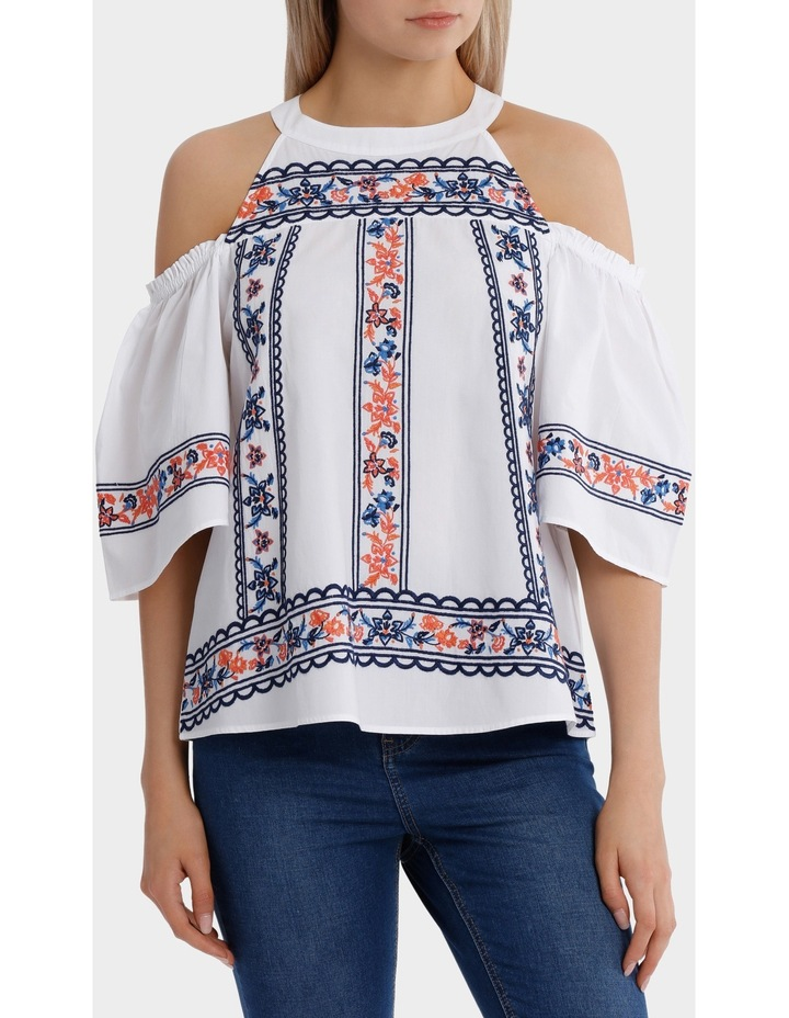 Top All Over Embroidery Cold Shoulder image 1