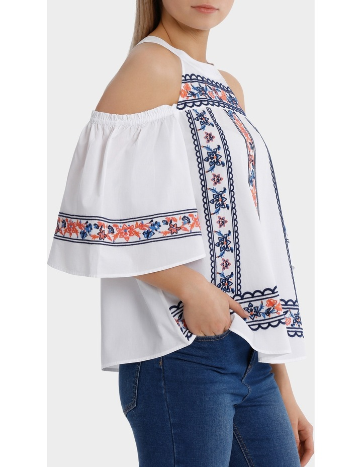 Top All Over Embroidery Cold Shoulder image 2