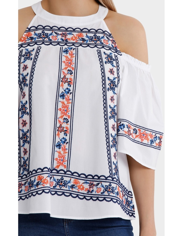 Top All Over Embroidery Cold Shoulder image 4