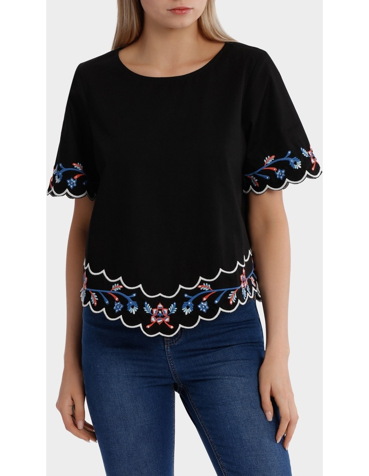 Embroidered Short Sleeve Top image 1