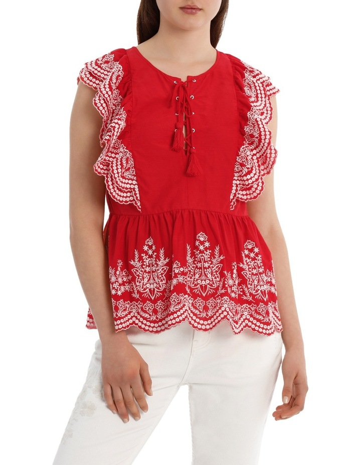 Top with Ruffle Embroidery image 1