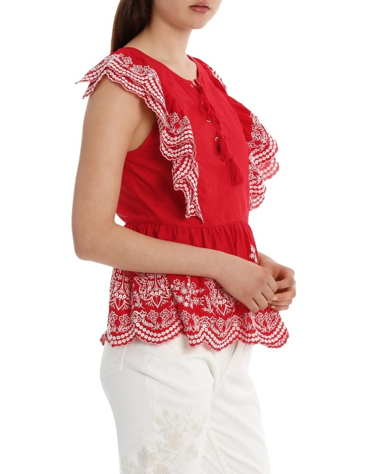 Top with Ruffle Embroidery image 2