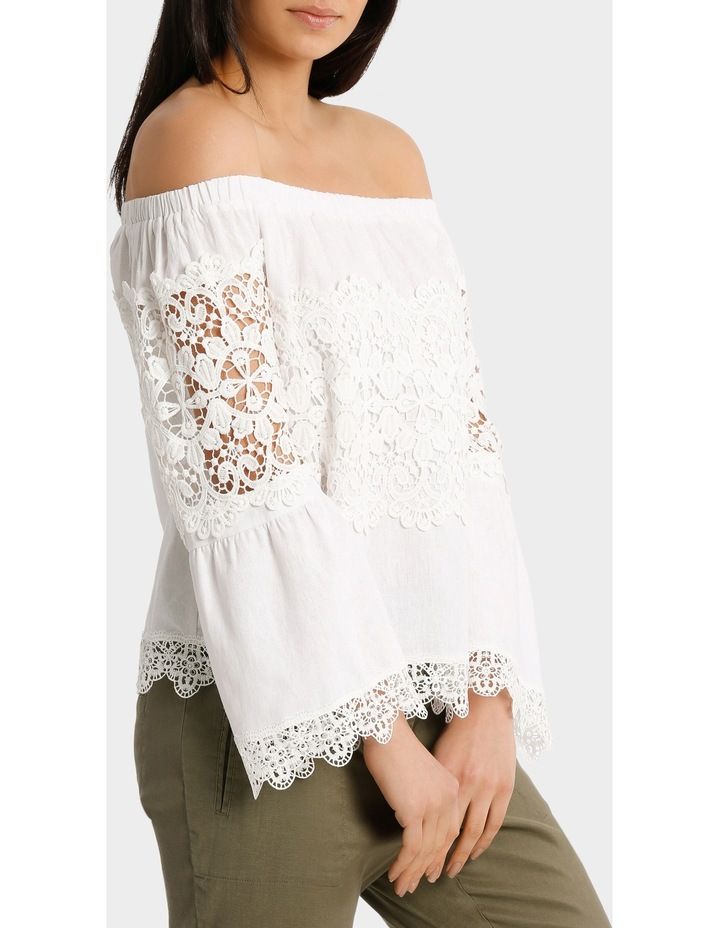 Top white fancy lace and full sleeves image 1