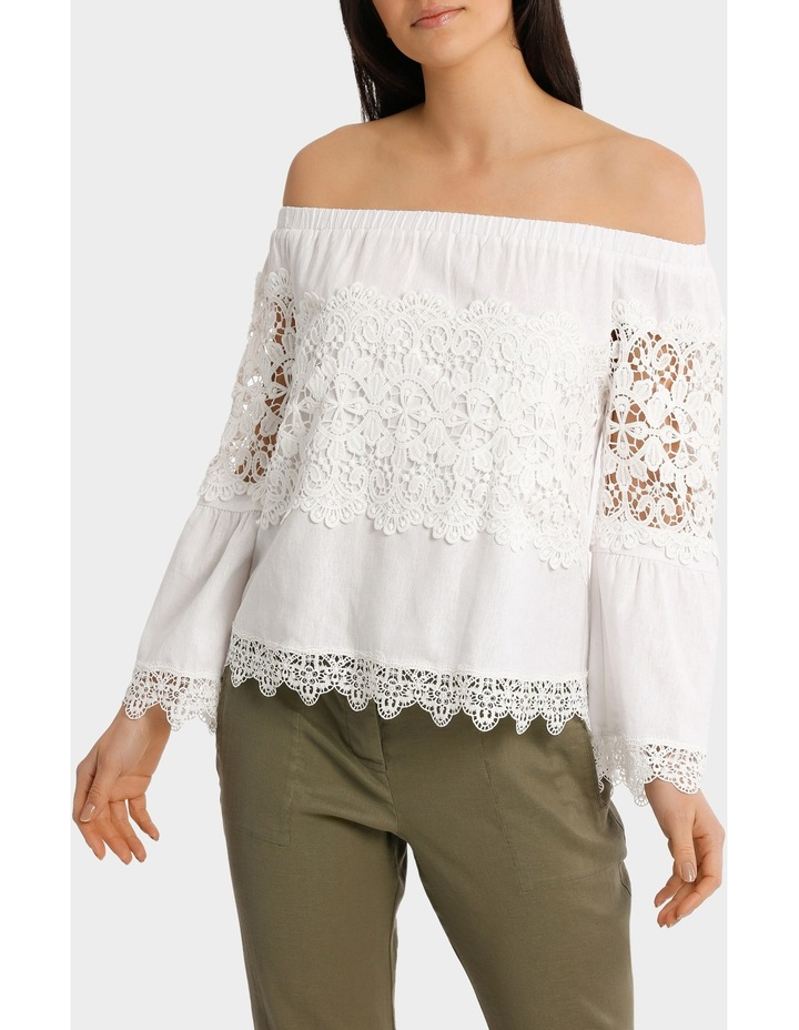 Top white fancy lace and full sleeves image 2