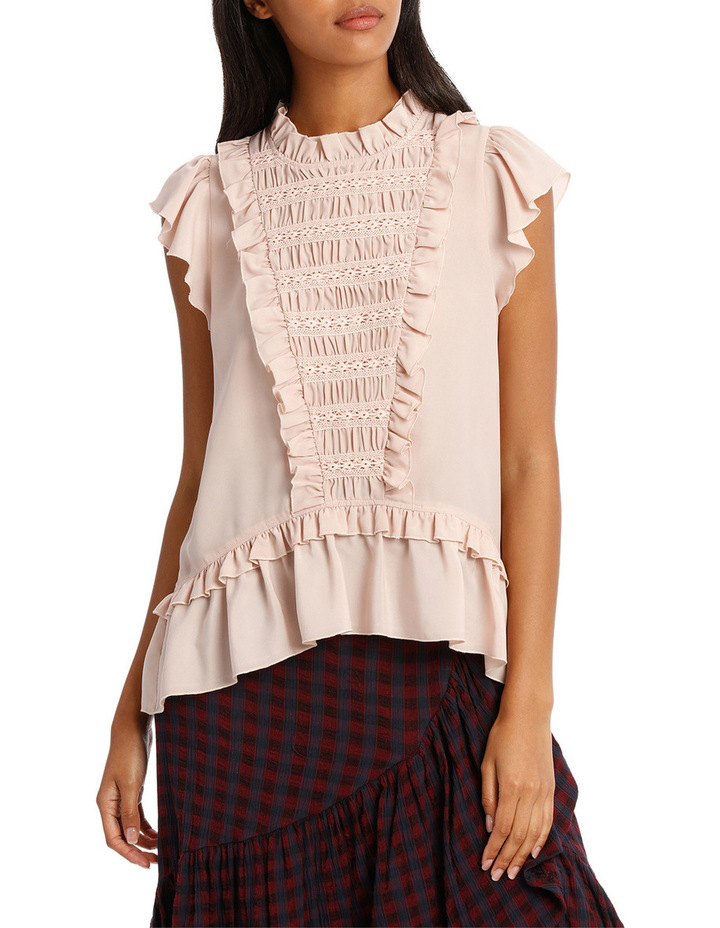 Top Short Sleeve and Lace Insert image 1