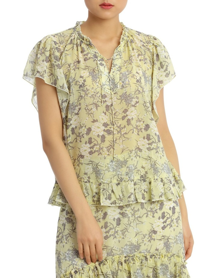 Top Print Soft with Ruffle Hem Short Sleeve image 1
