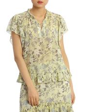 Piper - Top Print Soft with Ruffle Hem Short Sleeve