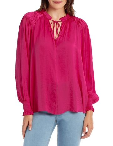 856e94e7f065c Piper Top With Shirring Cuff -Solid