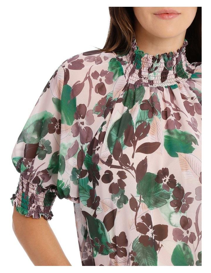 Top Shirrred Print Elbow Sleeve image 4