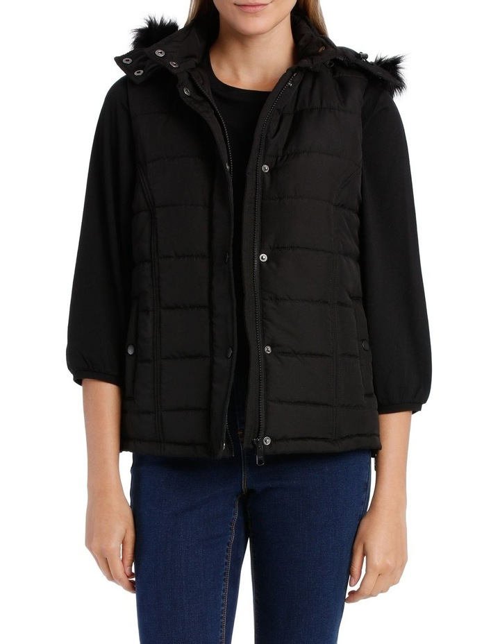 Vest Puffer with Fur Trim Hood image 1