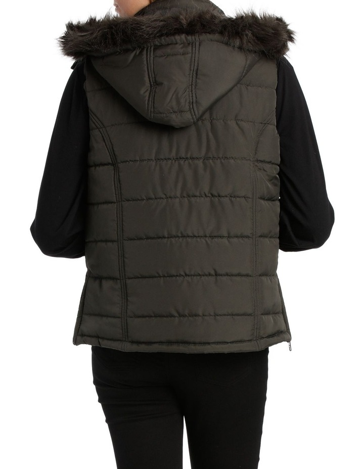 Vest Puffer with Fur Trim Hood image 3