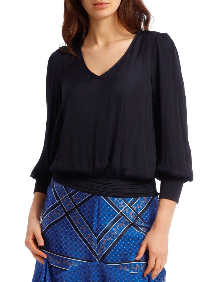 Vee Neck Top with Rouched Sleeve image 1