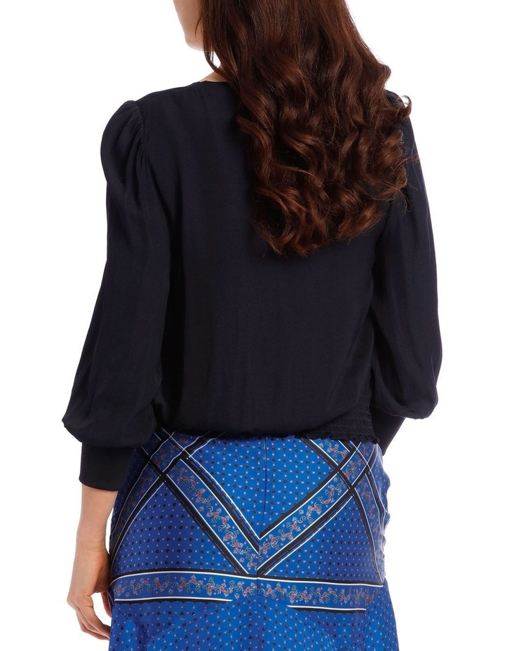 Vee Neck Top with Rouched Sleeve image 3