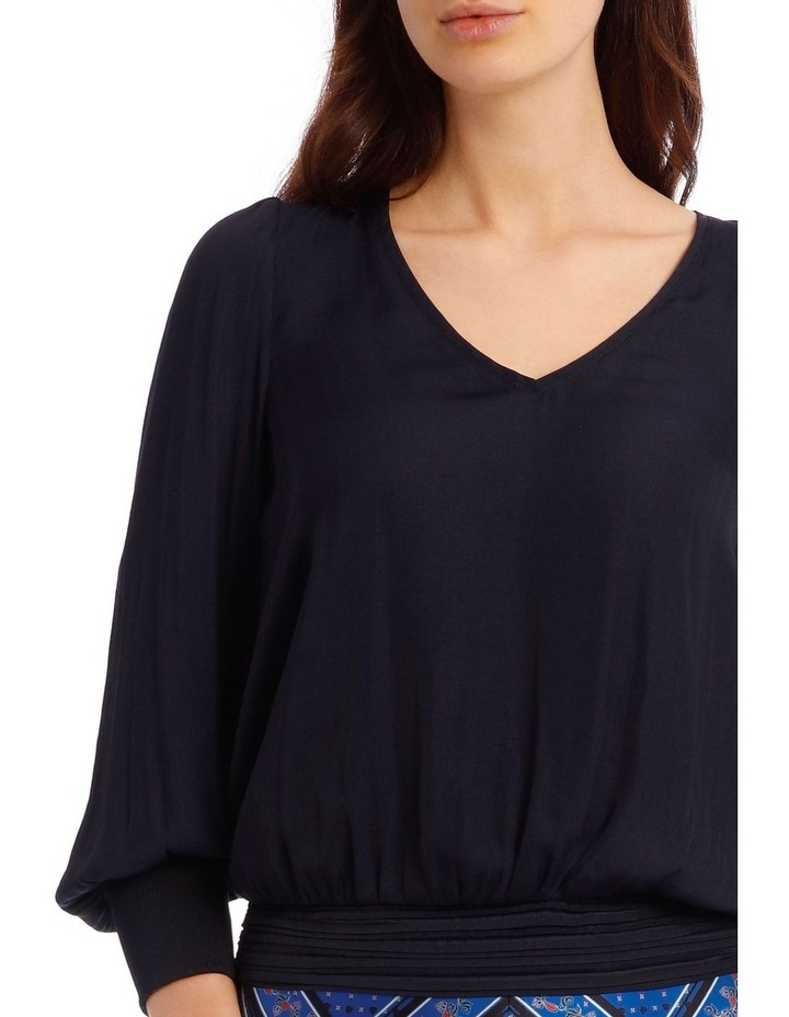 Vee Neck Top with Rouched Sleeve image 4