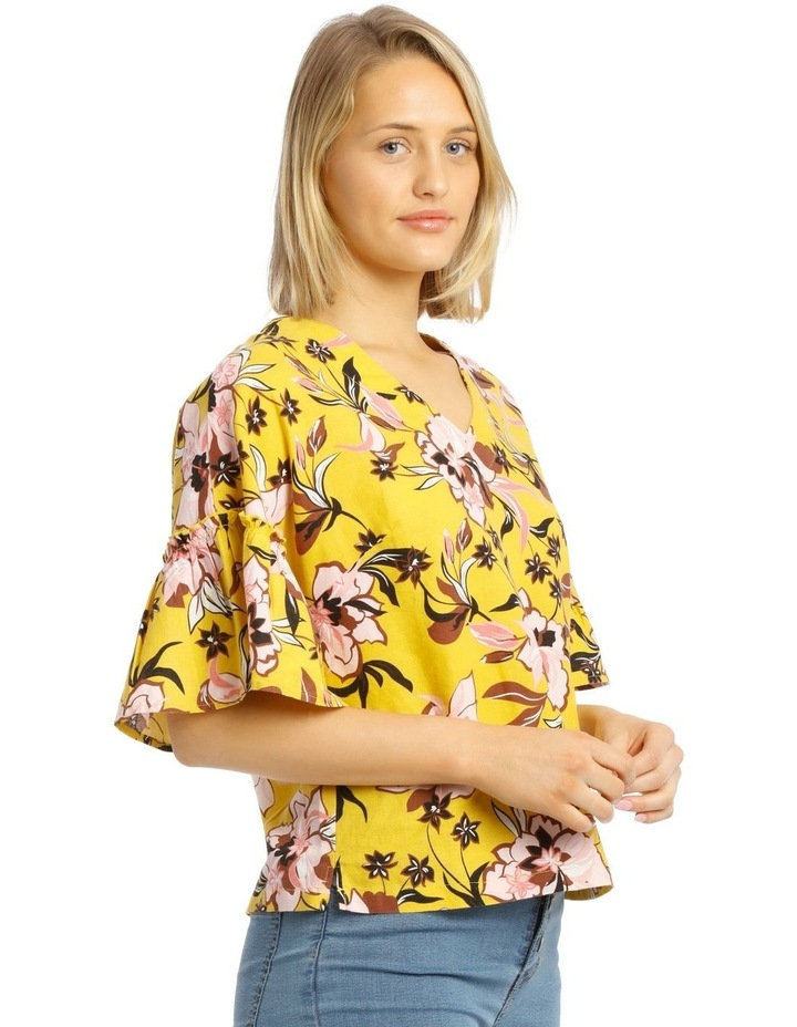 Printed Vee Neck Top With Ruffles image 2