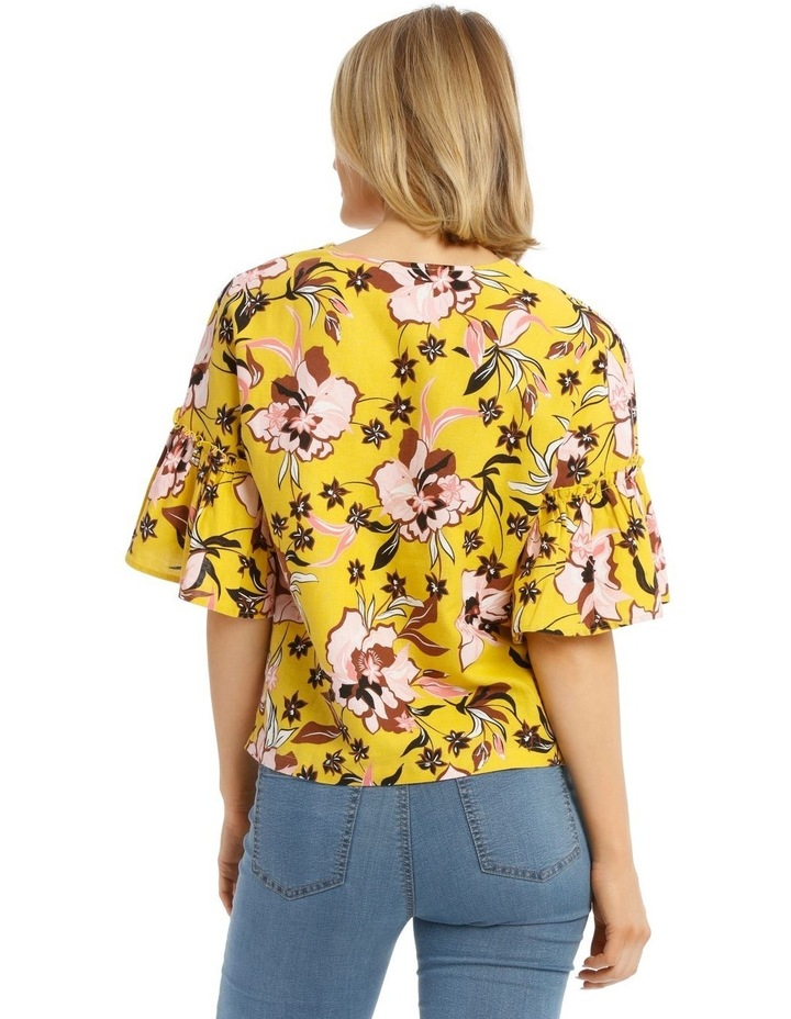 Printed Vee Neck Top With Ruffles image 3