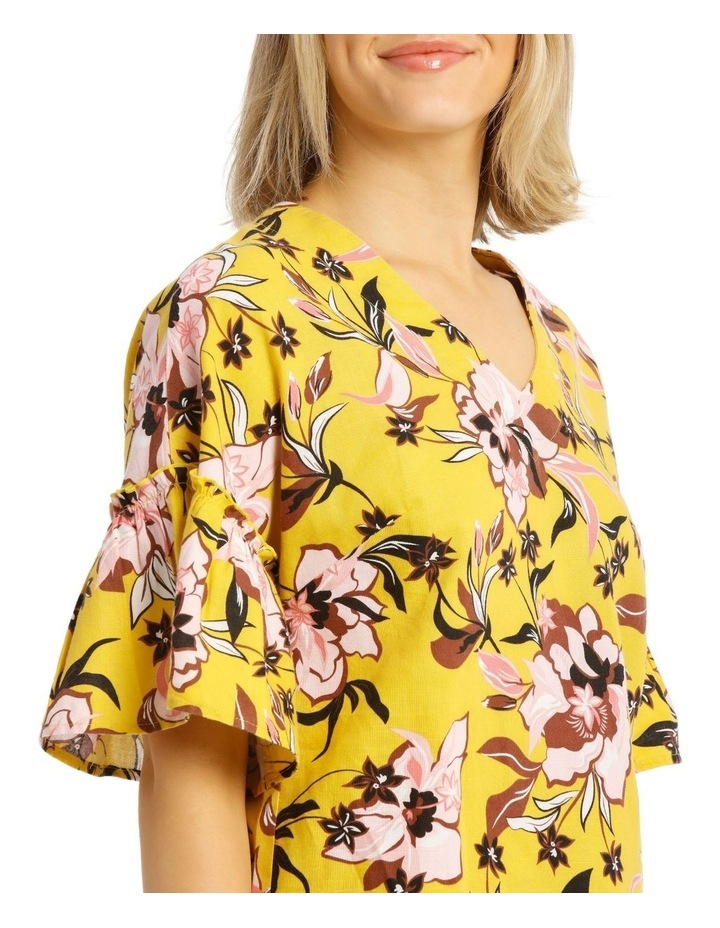 Printed Vee Neck Top With Ruffles image 4