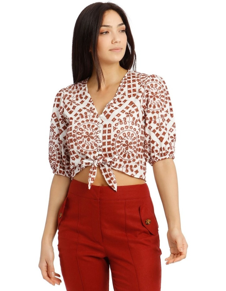 Embroidered Contrast Colour Wrap Top image 1