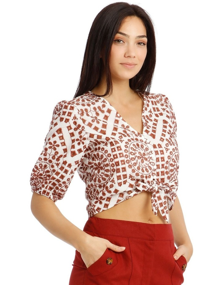 Embroidered Contrast Colour Wrap Top image 2