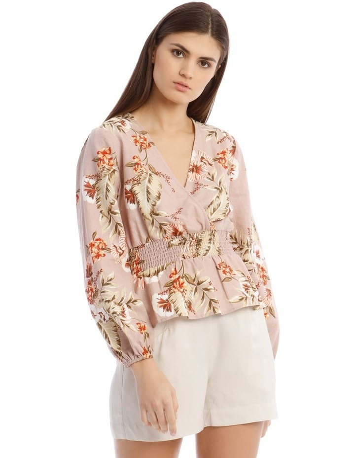 Printed Linen V-Neck Shirred Waist Top image 1