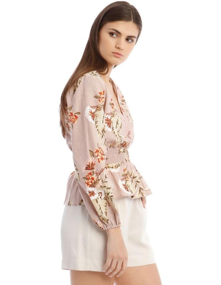 Printed Linen V-Neck Shirred Waist Top image 2