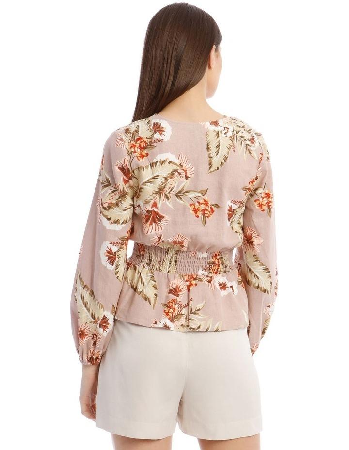 Printed Linen V-Neck Shirred Waist Top image 3