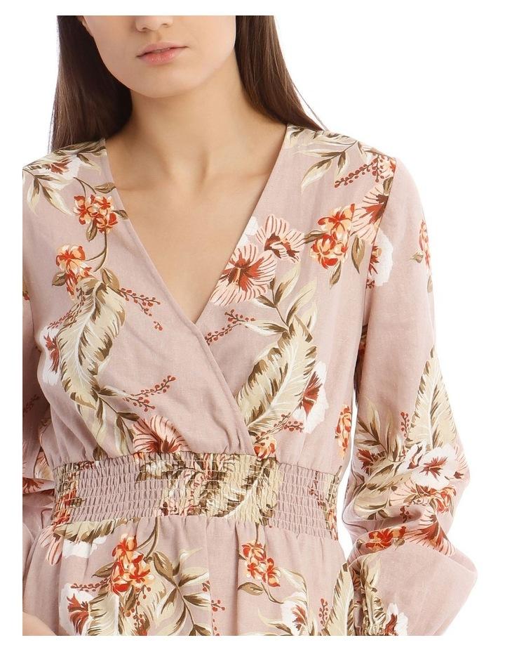 Printed Linen V-Neck Shirred Waist Top image 4
