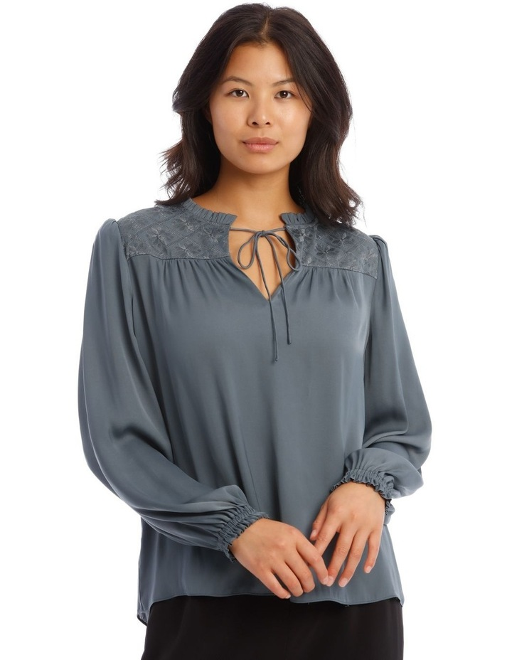 Rouched Sleeve Top With Embroidery Detail image 1