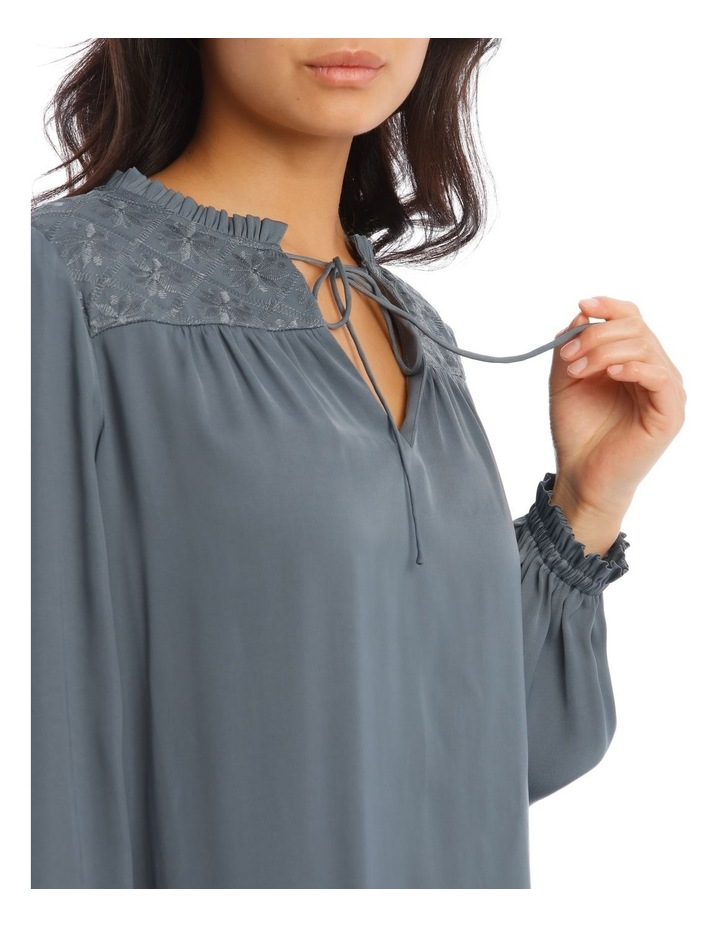 Rouched Sleeve Top With Embroidery Detail image 4