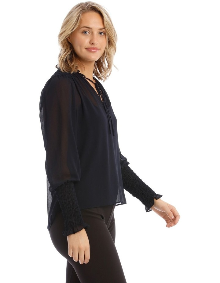 Shirred Top With Button Detail image 2