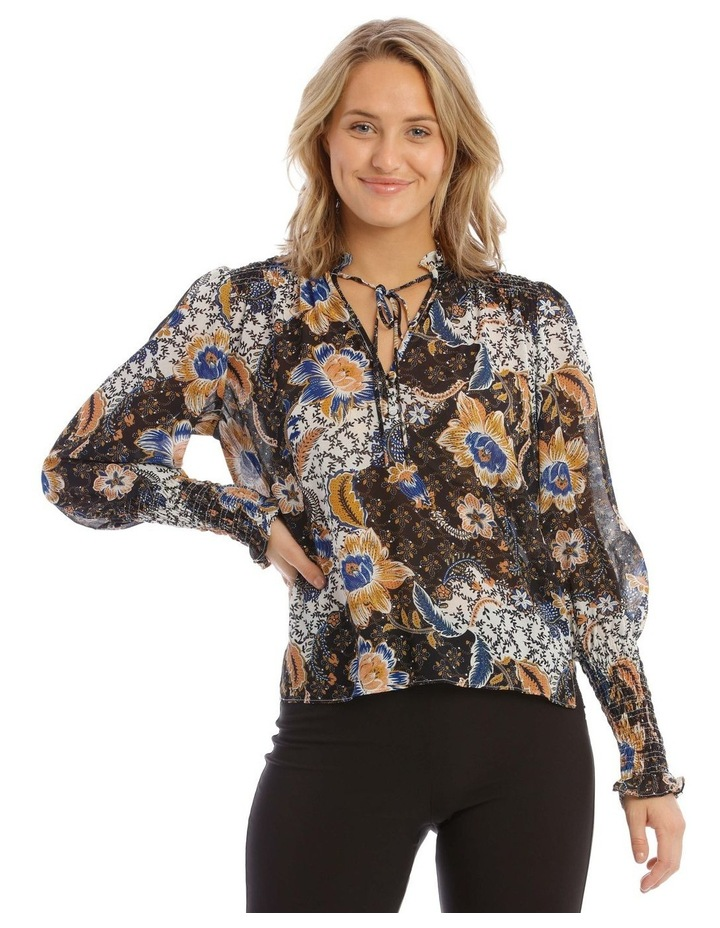Shirred Top With Button Detail image 1