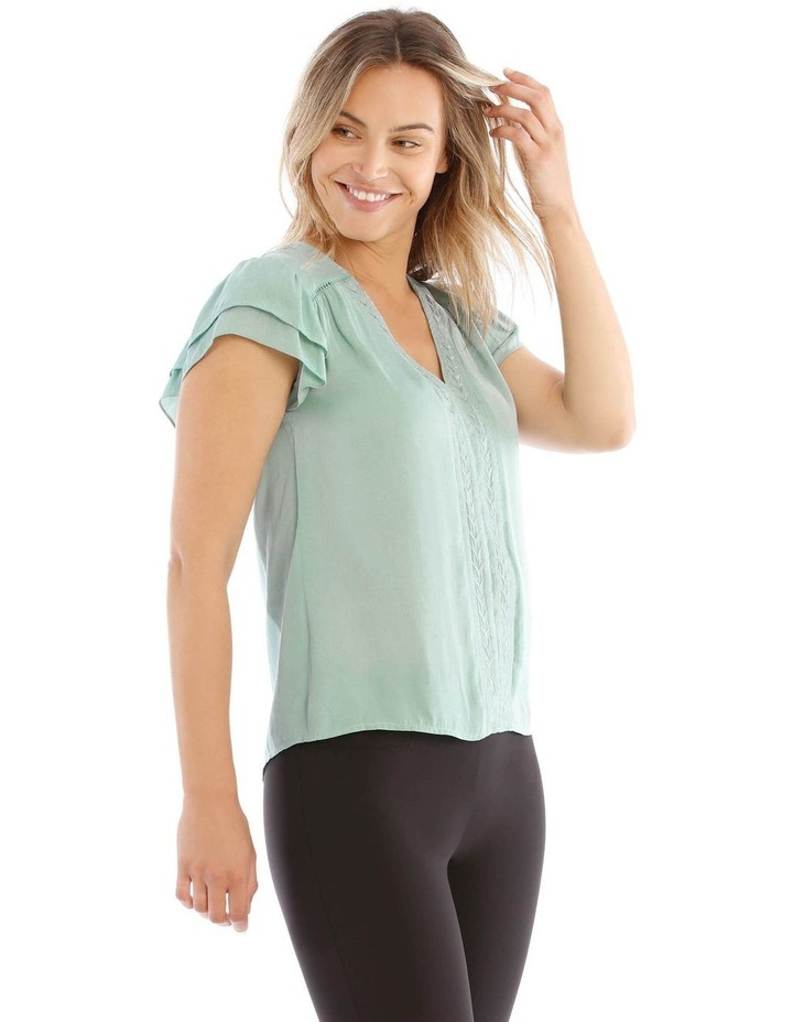 Embroidered Long Sleeve Top With Deep Frill image 2