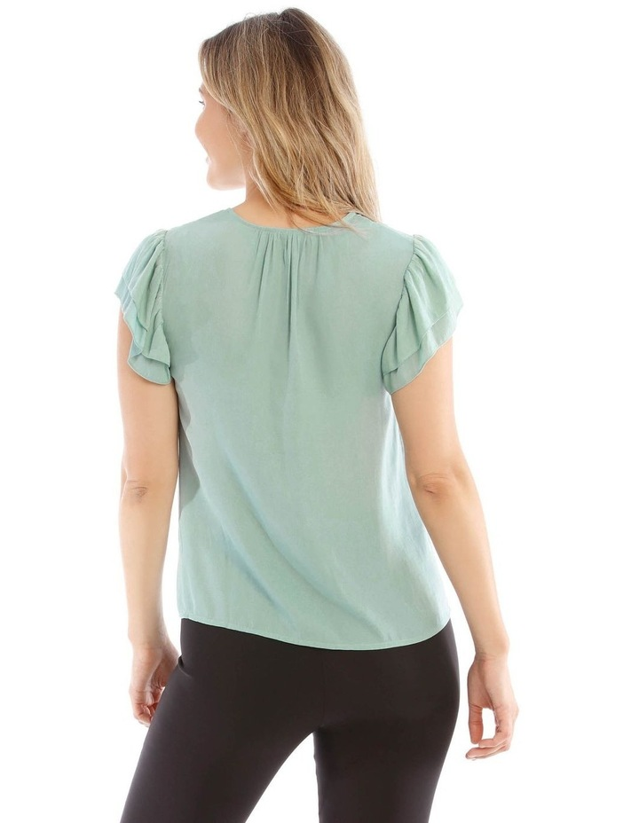 Embroidered Long Sleeve Top With Deep Frill image 3