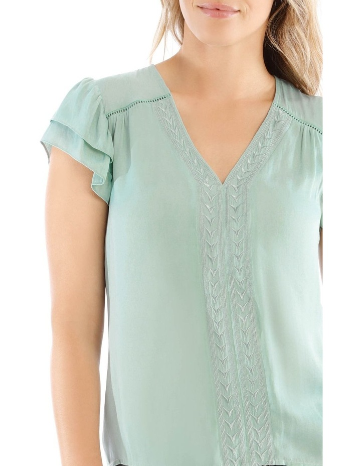 Embroidered Long Sleeve Top With Deep Frill image 4