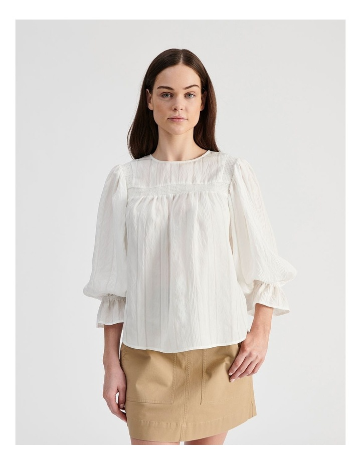 White Blouse with Shirring Detail image 1