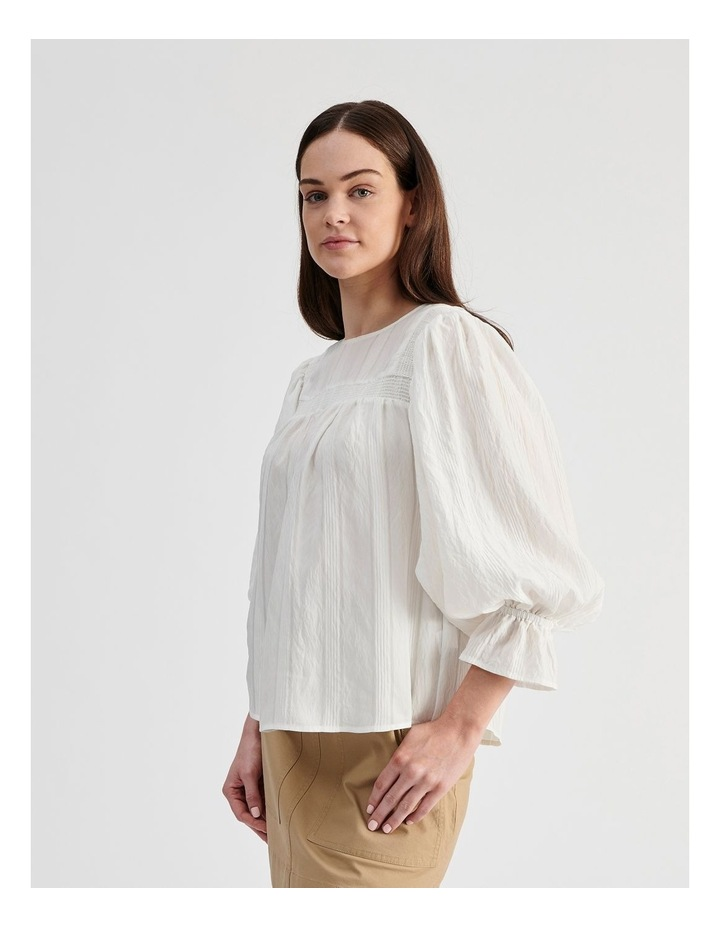White Blouse with Shirring Detail image 2