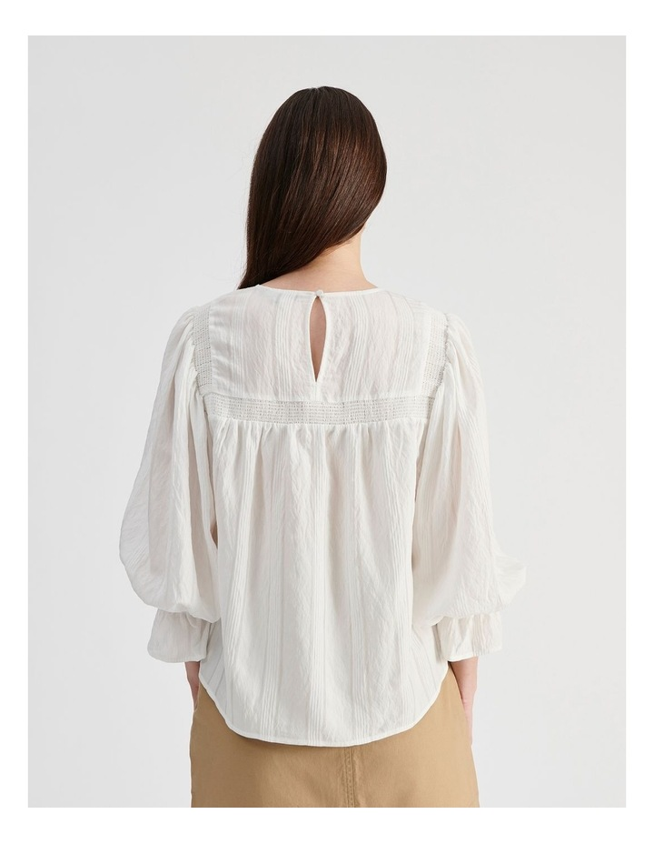 White Blouse with Shirring Detail image 3