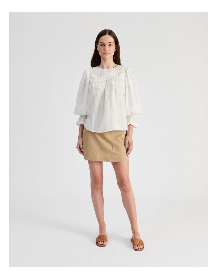 White Blouse with Shirring Detail image 4