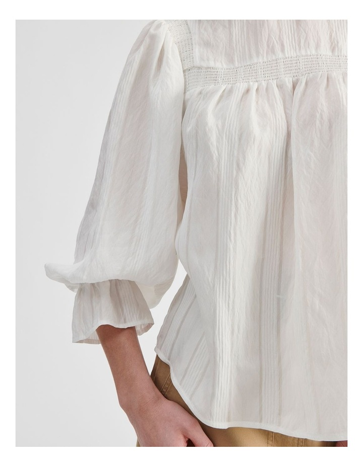 White Blouse with Shirring Detail image 5