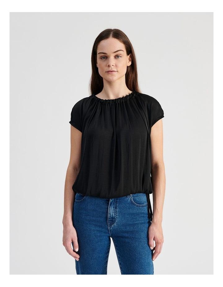 Sleeveless Waist Tie Top in Black image 1