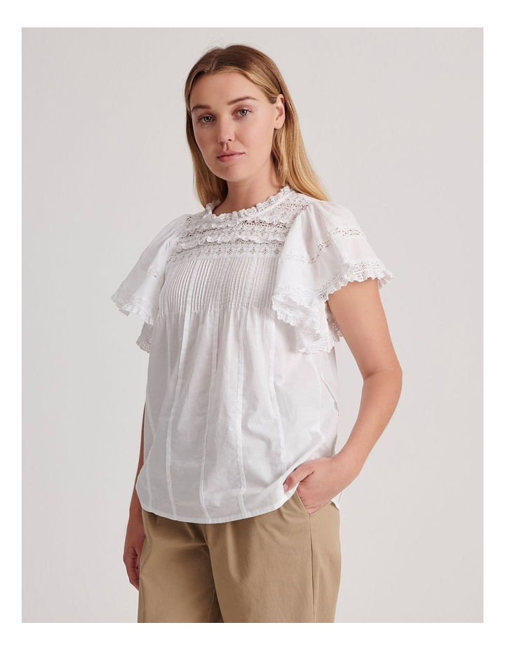 Flutter Sleeve Lace Trim Top image 3