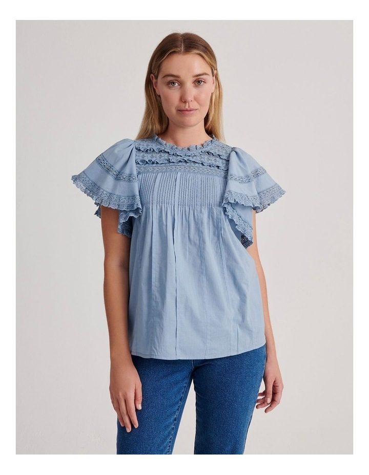 Flutter Sleeve Lace Trim Top image 1