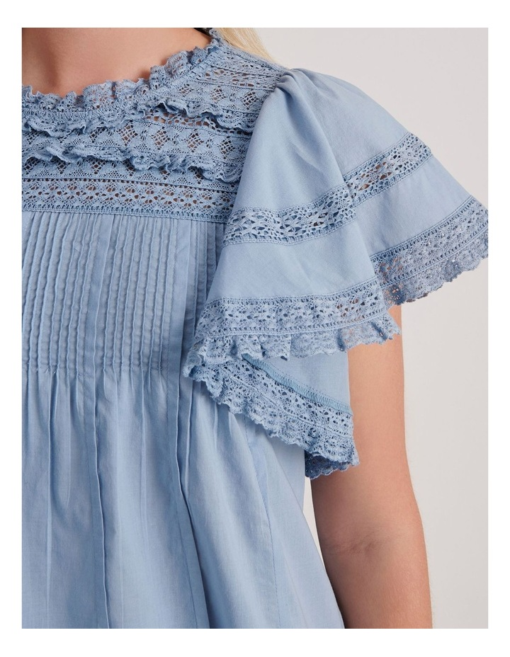 Flutter Sleeve Lace Trim Top image 5