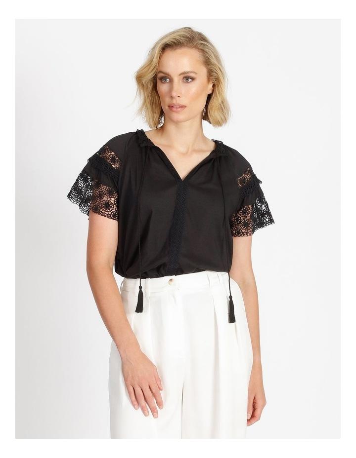 Lace Sleeve Tassel Tie Blouse Black image 1